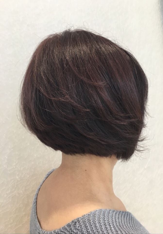 Bob cut wine red colouring